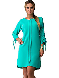 Women's Casual / Day / Simple Solid Plus Size Dress , Round Neck Above Knee Cotton / Polyester