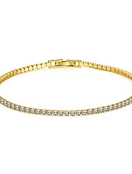 Bridal Jewellery 18K Yellow Gold Plated Rhinestones Swiss Cubic Zirconia Diamond Chain Tennis Bracelet