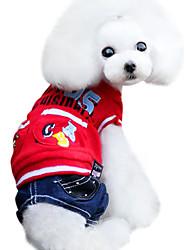 Hunde Kapuzenshirts / Overall Rot / Gelb Hundekleidung Winter Jeans / Buchstabe & Nummer Modisch