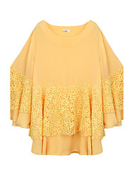 Women's Casual/Daily Simple Summer Blouse,Solid Round Neck Long Sleeve White / Yellow Silk / Polyester Thin