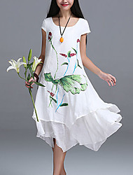 Women's Casual / Day Floral Loose Dress , Round Neck Asymmetrical Linen