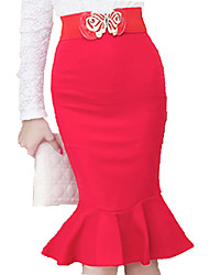 Women's Korean Style Falbala Fishtail Skirts Package Bodycon High Waist