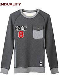 Trenduality® Hombre Escote Redondo Manga Larga Camiseta Gris Oscuro - 47058
