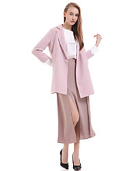 Women's Work Simple Trench Coat,Solid Notch Lapel Long Sleeve Pink / White / Beige Polyester