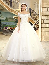 Princess Bateau Floor Length Tulle Wedding Dress with Beading