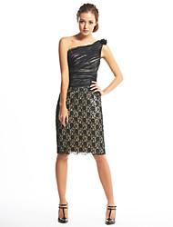 ts Couture® gaine robe de cocktail / colonne une épaule genou en mousseline de soie / dentelle avec fleur (s) / dentelle / côté drapage