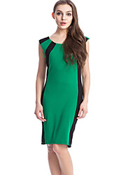 Hot Sale Women's Vintage / Casual / Day Striped Sheath Dress , Round Neck Knee-length Cotton / Polyester Slim Fit Dress