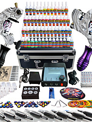 Pro Tattoo Complete Tattoo Kit 2 Pro Machines 54 Inks Power Supply Foot Pedal Needles Grips Tips TK259
