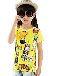 Girl's Cotton Spring / Fall Cartoon Pattern Fashion All-match Round Collar  T-Shirt
