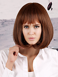 Middle Length Brown Color Straight Hair European Weave Wig