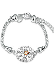Lureme® Silver Plated Jewelry Flower with Champagne Zircon Snake Chain Bracelet for Women