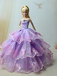 Barbie Doll - Festa e Noite - roxo claro - de Organza / Renda - Vestidos - com Vestidos