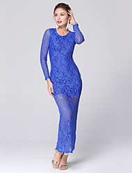 Women's Fashion Casual / Work / Party Long Sleeve Backless Lace Maxi Dress