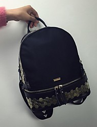 Women Oxford Cloth Bucket Backpack - Black