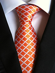 New Orange plaid Classic Formal Men's Tie Necktie Wedding Party Gift TIE0201