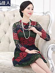 Mulheres Vestido Rendas Vintage Floral Acima do Joelho Colarinho Chinês Algodão / Nylon