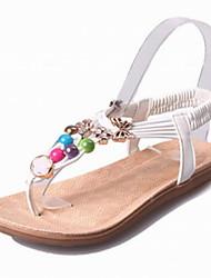Zapatos de mujer-Tacón Bajo-Mary Jane-Sandalias-Oficina y Trabajo / Vestido / Casual-Semicuero-Negro / Blanco