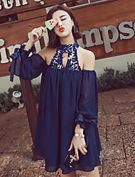 Women's Solid Blue / Red Blouse,Halter Sleeveless