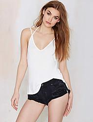 Women's Solid White / Black Vest , Strap Sleeveless