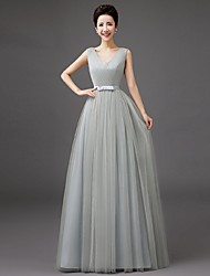 Floor-length Tulle Bridesmaid Dress-Lilac / Pearl Pink / Champagne / Silver / Sky Blue Sheath/Column V-neck