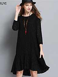 Fashion Casual Women Plus Size Hollow Lace See Through Patchwork Pleat Asymmetric Knee Length Dress