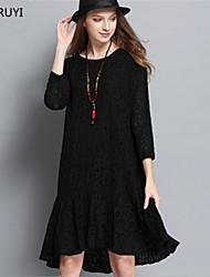 Robe Aux femmes Grandes Tailles / Lace Vintage / Simple,Couleur Pleine Col Arrondi Mi-long Polyester