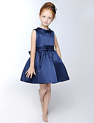 A-line Short / Mini Flower Girl Dress - Satin Sleeveless Jewel with