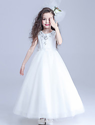A-line Ankle-length Flower Girl Dress - Lace / Tulle 3/4 Length Sleeve Jewel with
