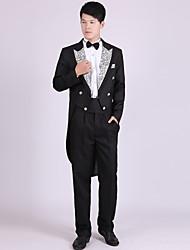 Costumes Coupe Sur-Mesure Cranté Double Boutonnage à Six boutons Polyester Motifs 4 Pièces Noir / Blanc / Argent