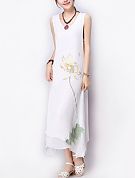 Women's Casual / Day Floral Loose Thin Temperament Dress , Round Neck Asymmetrical Layered Cotton / Linen