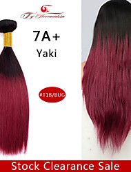 "1Pc/Lot  12""7A Brazilian Virgin YaKi Hair Ombre Natural Color Straight Human Hair Weave ,Hair Weft"