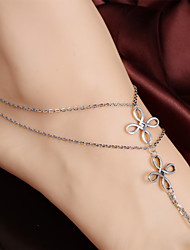 2Pcs Antique Boho Style Anklet Chain Barefoot Sandals Bridemaids Wedding Jewelry Toe Ring Anklets (Silver plated)