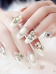 24PCS Luxurious Inlay Jewel White French Bride Feast Nail Tips