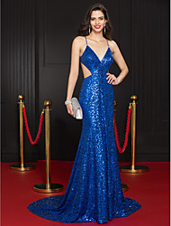 TS Couture Formal Evening Dress - Celebrity Style Trumpet / Mermaid Spaghetti Straps Court Train Sequined with Sequins