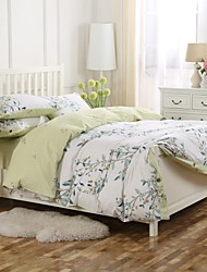 Simple Opulence 100% Cotton Wood Button Floral Printed King Queen Light Yellow Duvet Cover Set