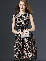Women's Party / Cocktail / Street chic Floral A Line Dress , Round Neck Knee-length Polyester
