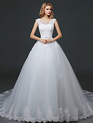 Trumpet/Mermaid Wedding Dress - White Court Train Bateau Lace / Tulle