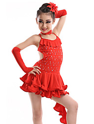 Latin Dance Dresses Children's Performance Spandex / Sequined / Milk Fiber Crystals/Rhinestones 4 Pieces 4 Colors