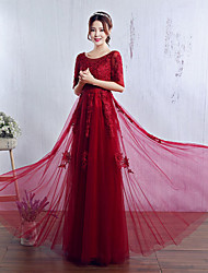 Formal Evening Dress A-line Jewel Floor-length Tulle with Lace