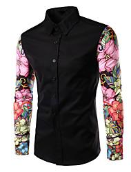 Men's Long Sleeve Shirt , Cotton Casual / Work / Formal / Sport Print