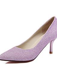 Синий Фиолетовый Серебристый-Женский-Свадьба Для офиса Для праздника-Полиуретан-На шпильке-клуб Обувь-Обувь на каблуках