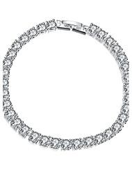 Twinkle Grace Women's White Cubic Zirconia Silver Plated Brass Chain & Link Bracelet(White)(1Pc)