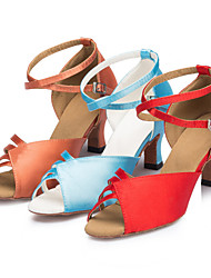 Women's Dance Shoes Latin / Ballroom/ Jazz / Swing Shoes / Salsa / Samba Satin Customized Heel Blue / Brown / Red