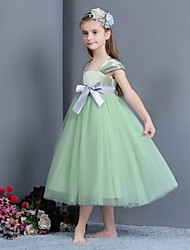 A-line Ankle-length Flower Girl Dress - Satin / Tulle Sleeveless Square with
