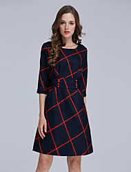 Women's Sexy / Beach Houndstooth A Line Dress , Round Neck Mini Polyester