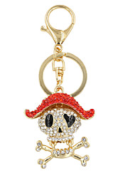 Punk moda strass definir móvel crânio anel chave acessório / bolsa