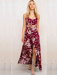 Women's Boho / Holiday Floral Loose / Sheath Dress , Strap Maxi Cotton