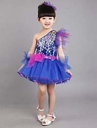 Danse latine Tenue Enfant Lin Strass 4 Pièces Sans manche Robe Bracelets Coiffures