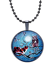 The New Time Moonlight Cat Owl Pendant Necklace Gemstone