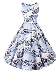 Damen A-Linie Kleid-Party/Cocktail Retro Blumen Rundhalsausschnitt Knielang Ärmellos Blau Kaninchen-Pelz Sommer